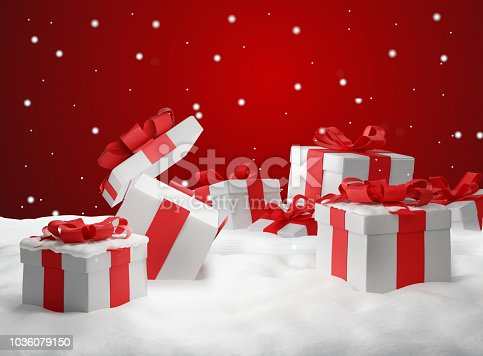 istock opened christmas presents surprise. Christmas background 3d-illustration 1036079150