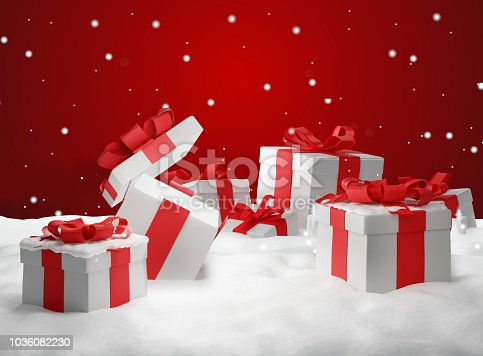 istock opened christmas presents surprise. Christmas background 3d-illustration 1036082230