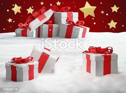 istock opened christmas presents surprise. Christmas background 3d-illustration 1036082732