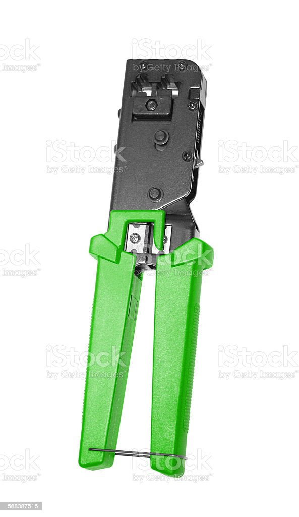 opened crimper tool isolated on white stock photo