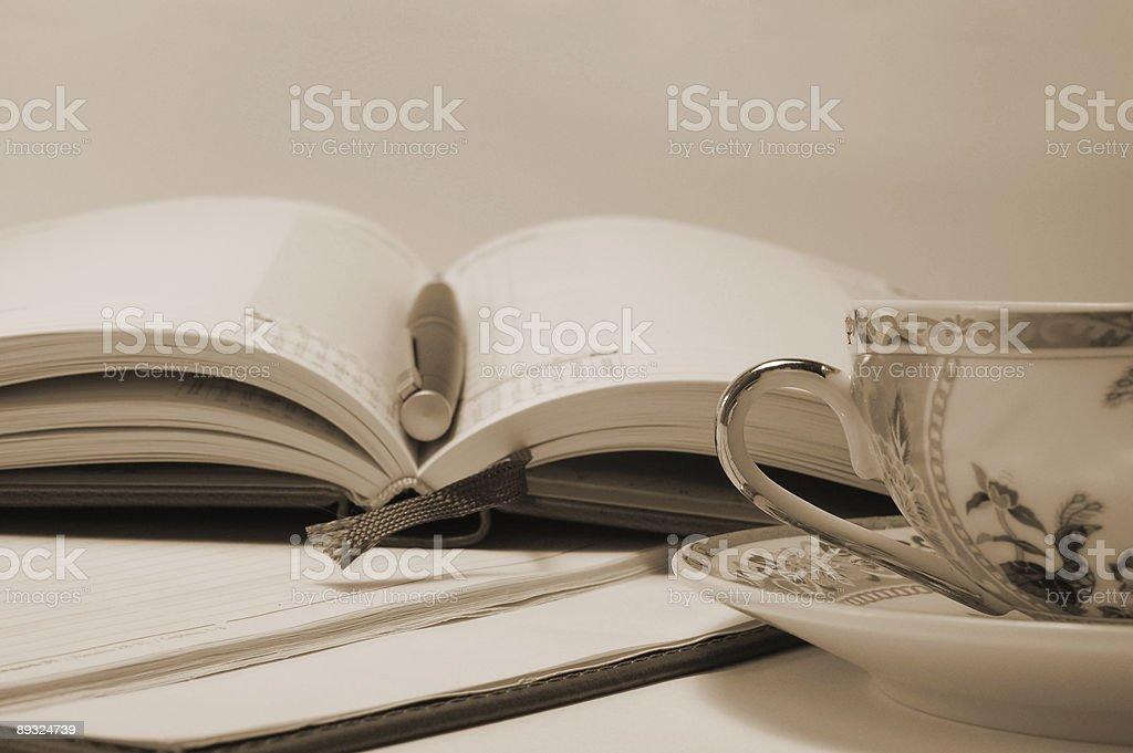 opened daily log (sepia) royalty-free stock photo