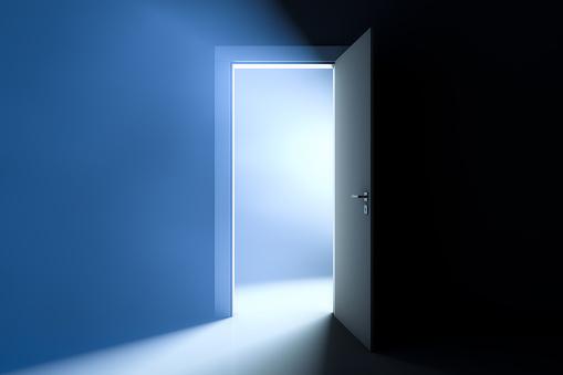 Opened door. Bright light in the room