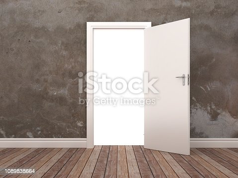 Opened Door in Room - 3D Rendering