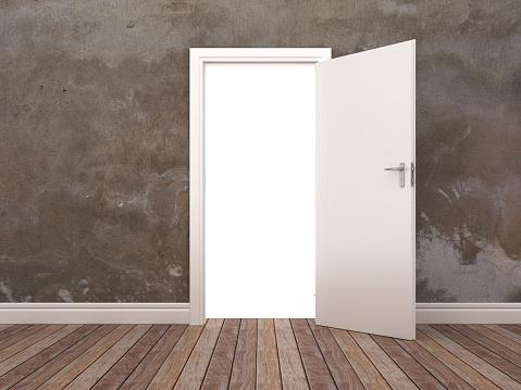 istock Opened Door in Room - 3D Rendering 1089838664
