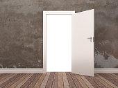 Opened Door in Room - 3D Rendering