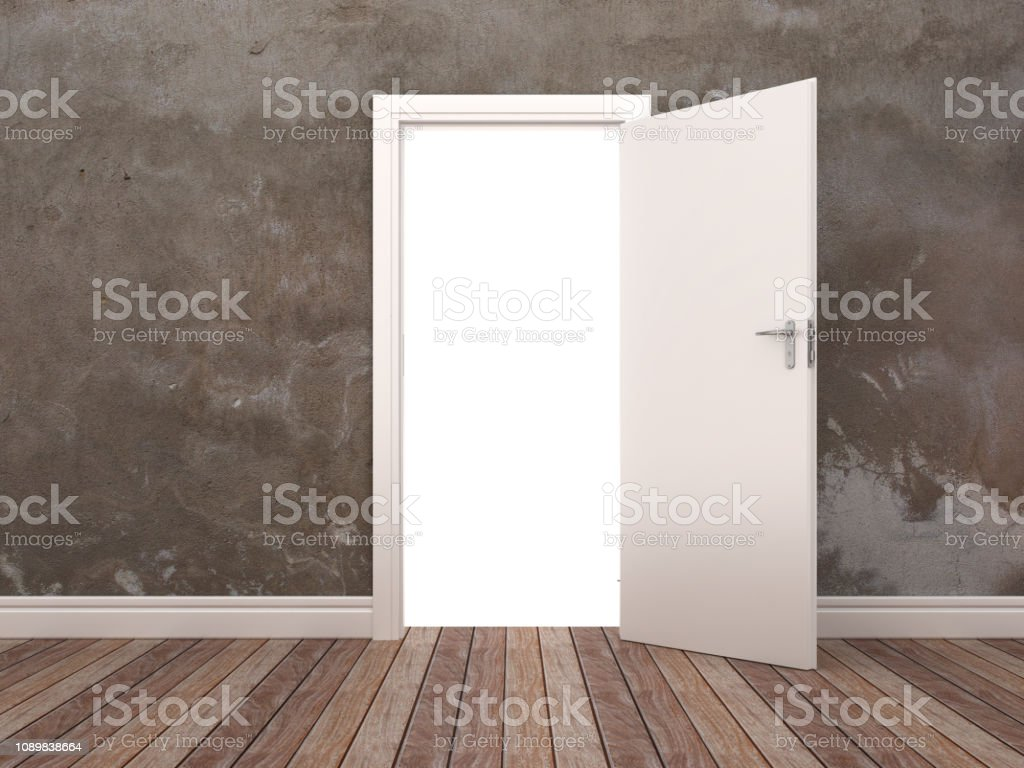Opened Door in Room - 3D Rendering stock photo
