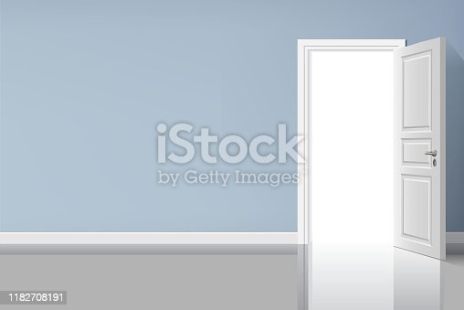 507793335 istock photo Opened door in the blue wall with light illustration design. 1182708191