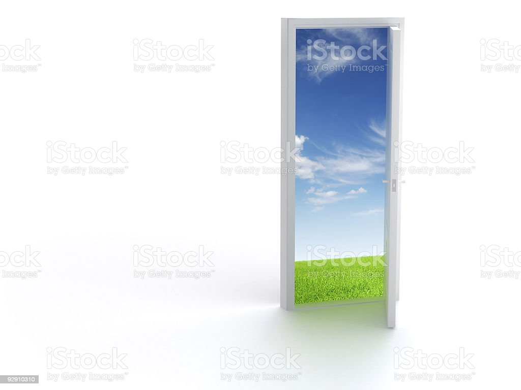 Opened door to another World on white royalty-free stock photo