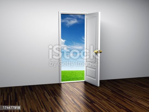 Open door with green grass and blue sky on the other side........................................................................................