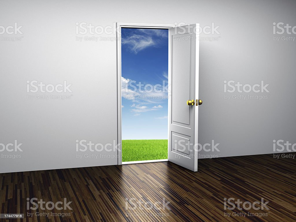 Opened door to Paradise stock photo