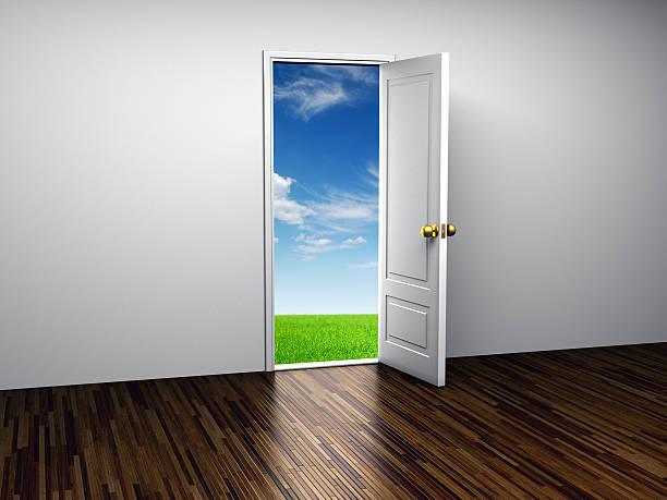 Opened door to Paradise stock photo