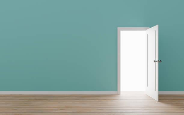 geopende deur met blauwe muur - poort stockfoto's en -beelden