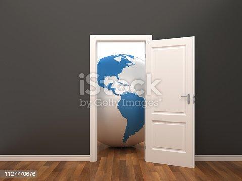 istock Opened Door with Globe World in Room - 3D Rendering 1127770676