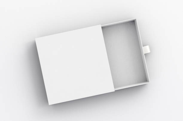 Opened drawer sliding box Opened empty white drawer sliding box on white background. Isolated with clipping path around box. 3d illustration gift box stock pictures, royalty-free photos & images