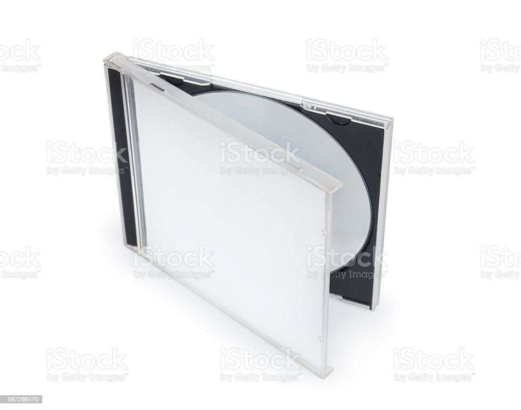 opened dvd cd disc cover case mockup. royalty-free stock photo