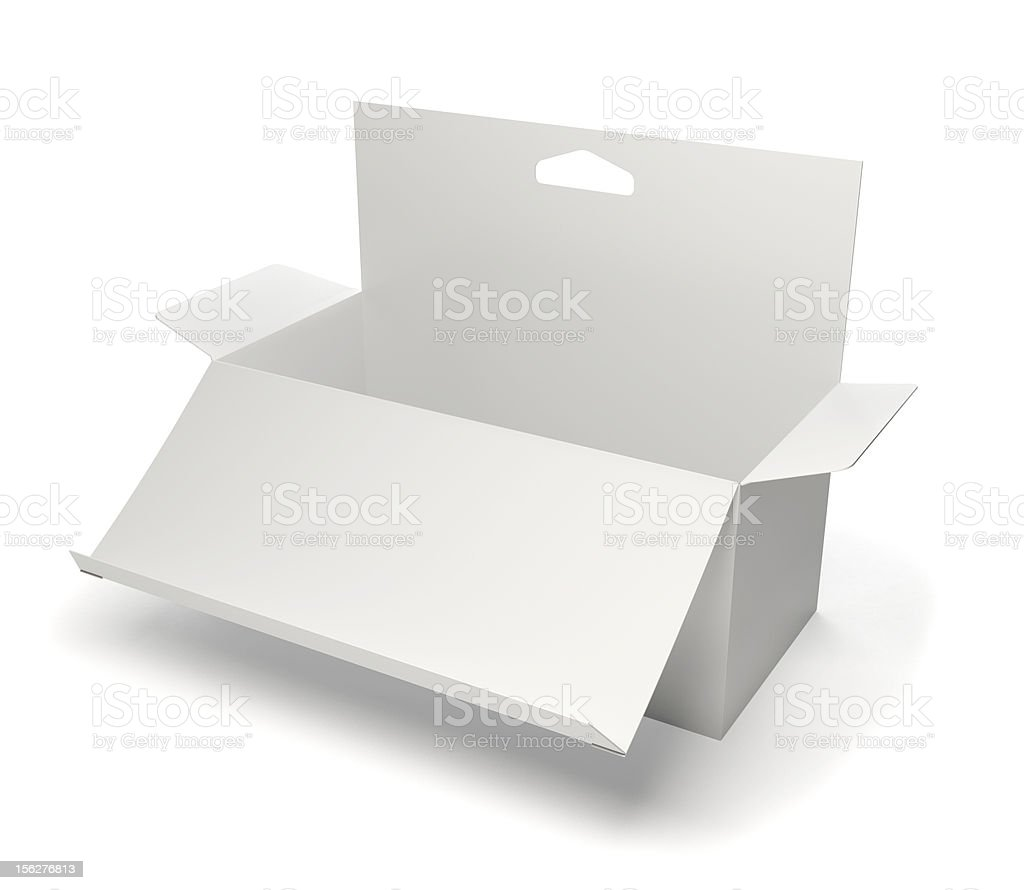 Opened empty blank package isolated on white royalty-free stock photo