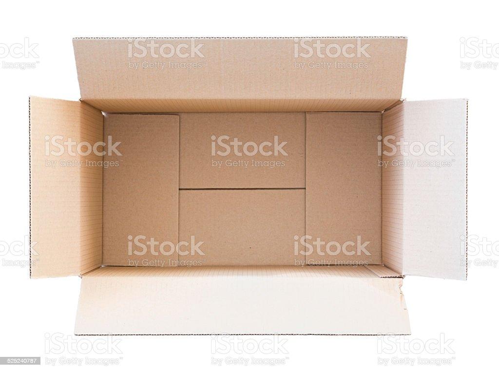 Opened empty carton box stock photo