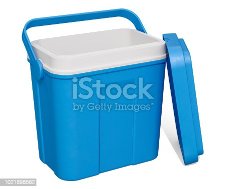 istock Opened Empty Portable Cool Box, 3D rendering isolated on white background 1021898562