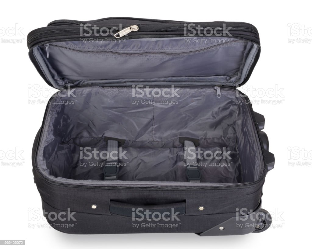 Opened empty suitcase isolated on white background, contains clipping path royalty-free stock photo