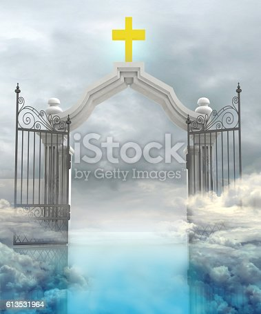 istock opened entrance to Gods paradise in sky 613531964