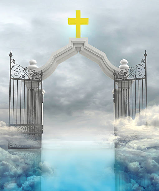 opened entrance to Gods paradise in sky - foto de stock