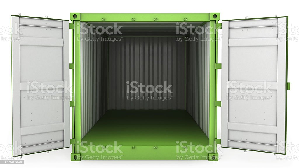 Opened green freight, front view royalty-free stock photo