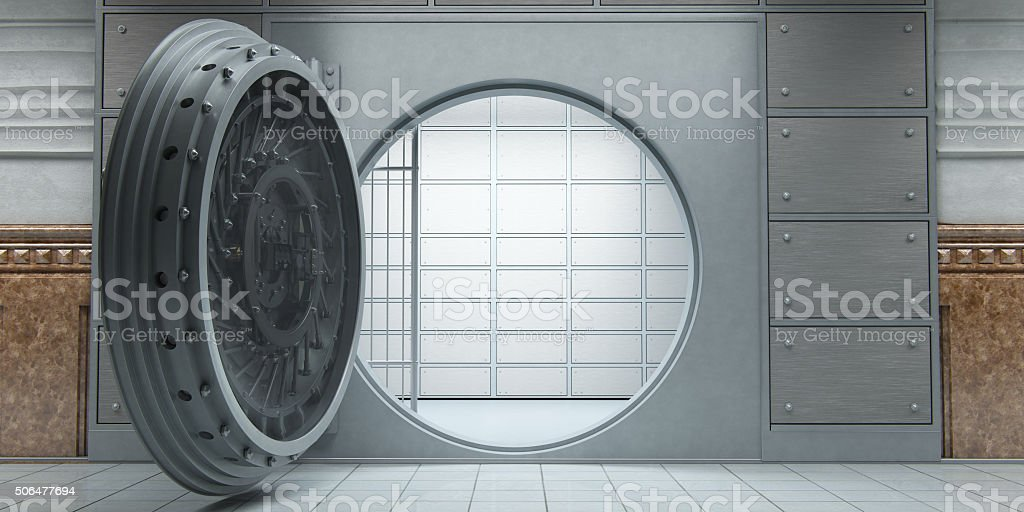 Opened huge empty bank vault front view stock photo