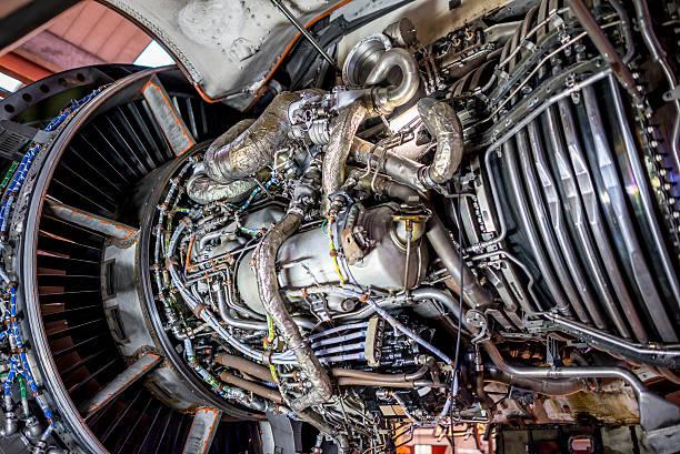 Opened jet engine stock photo
