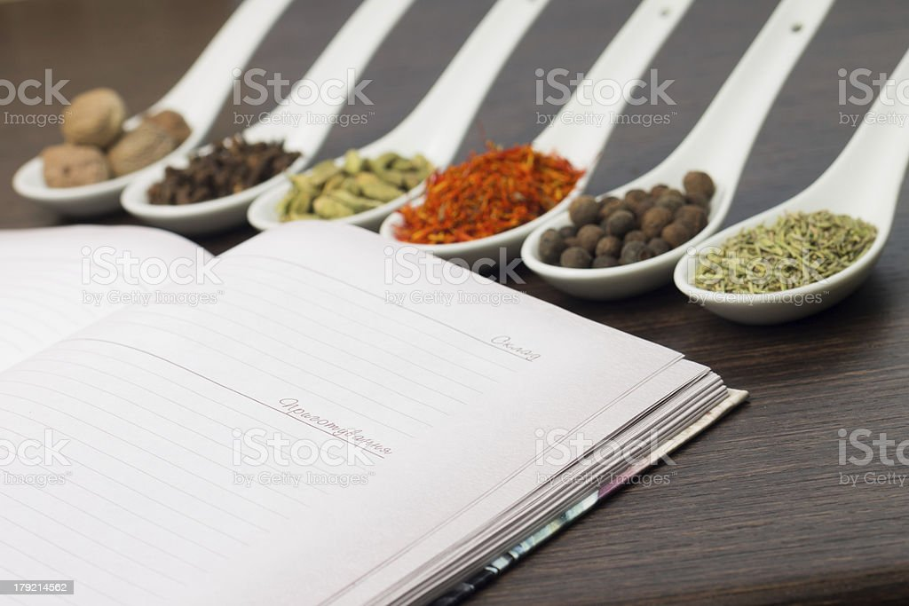 Opened Kitchen book with various of Spices royalty-free stock photo