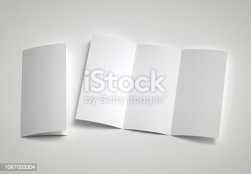 1139340462 istock photo Opened Leaflet Mockup on gray background. 3d rendering. 1067033304