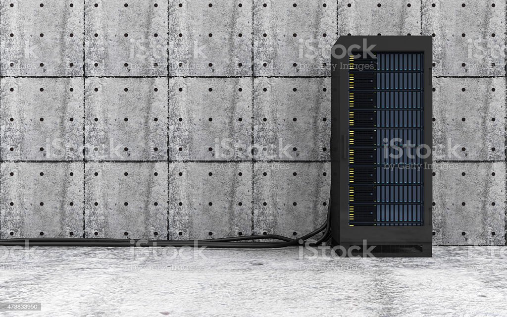 Opened Modern Server Rack in a Concrete Room Interior stock photo