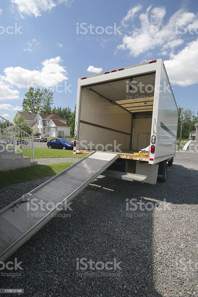 Opened Moving Truck with Ramp royalty-free stock photo