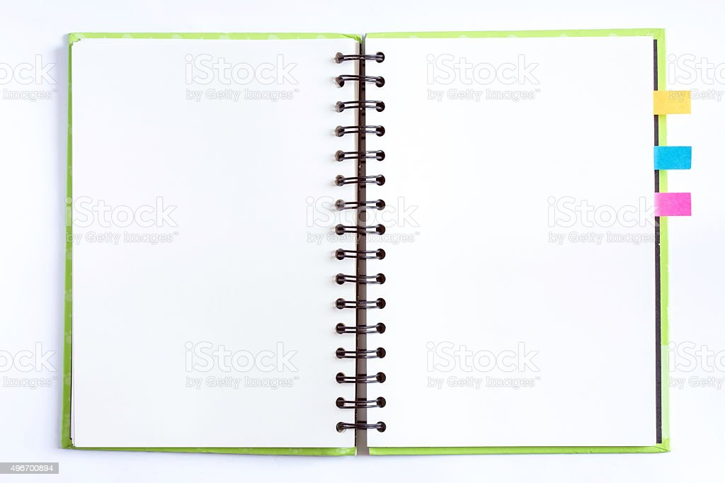 opened notebook with blank paper pages and color bookmarks stock photo