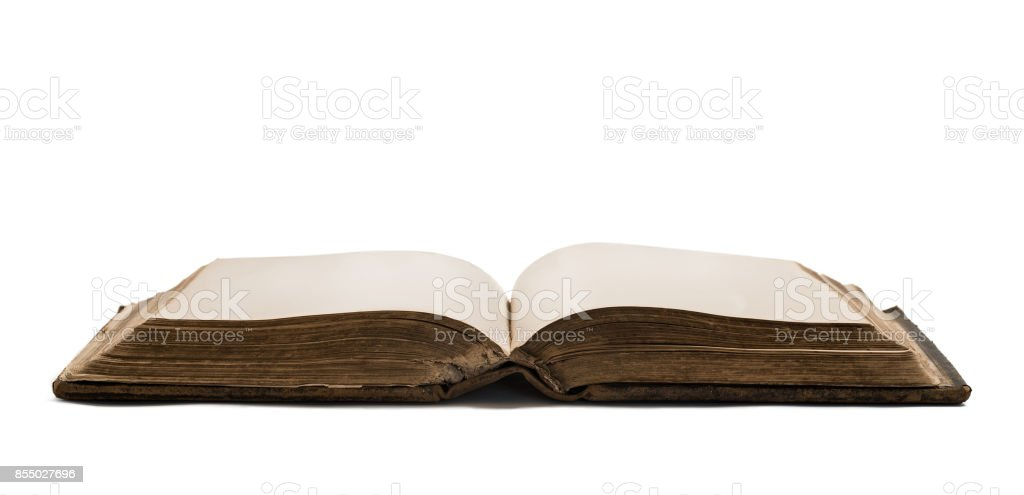 Opened old blank book stock photo