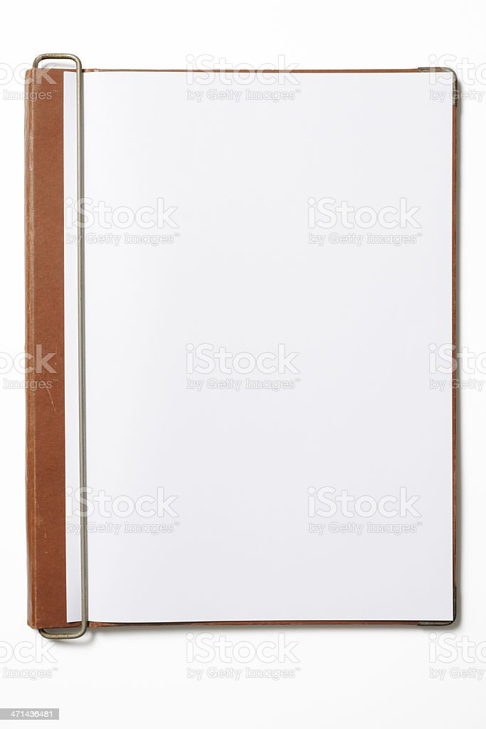 Opened old brown clipboard with blank document on white background royalty-free stock photo