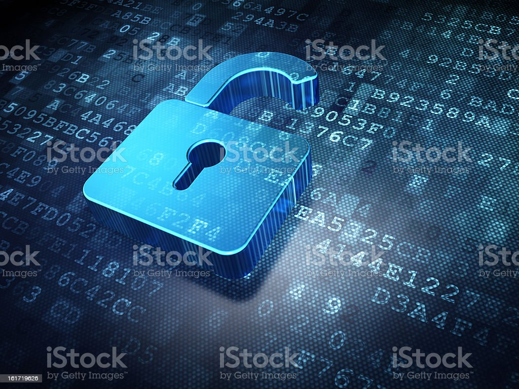Opened padlock logo on alphanumeric background stock photo