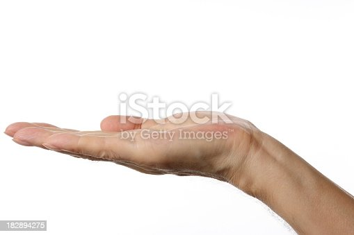 182925103 istock photo Opened palm up right hand gesture against white background 182894275