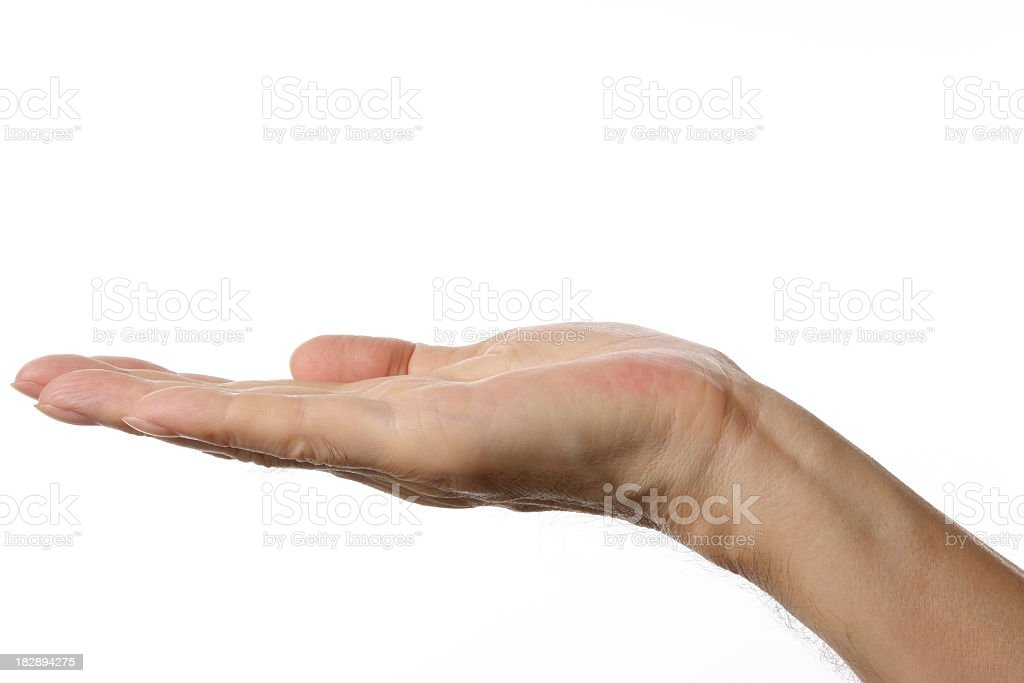 Opened palm up right hand gesture against white background stock photo