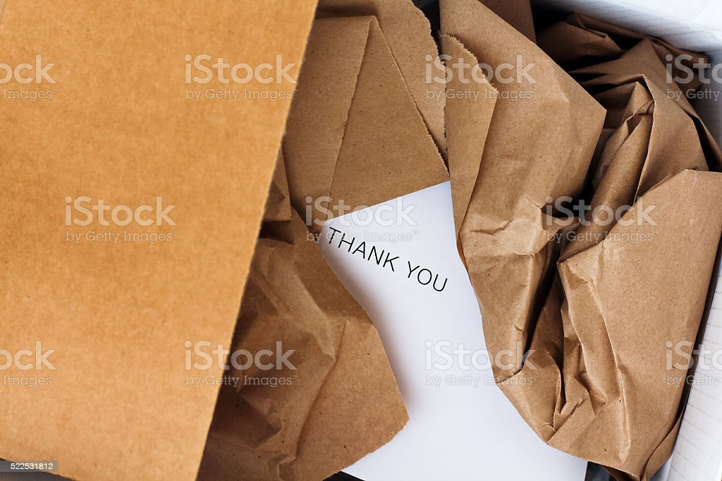35ef937fe6de8 Opened Parcel And Gift Card Inside Stock Photo   More Pictures of ...