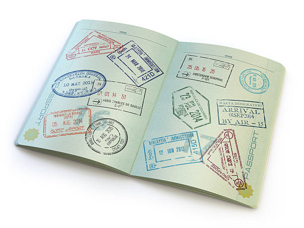 opened passport with visa stamps in the  pages - passport stock photos and pictures