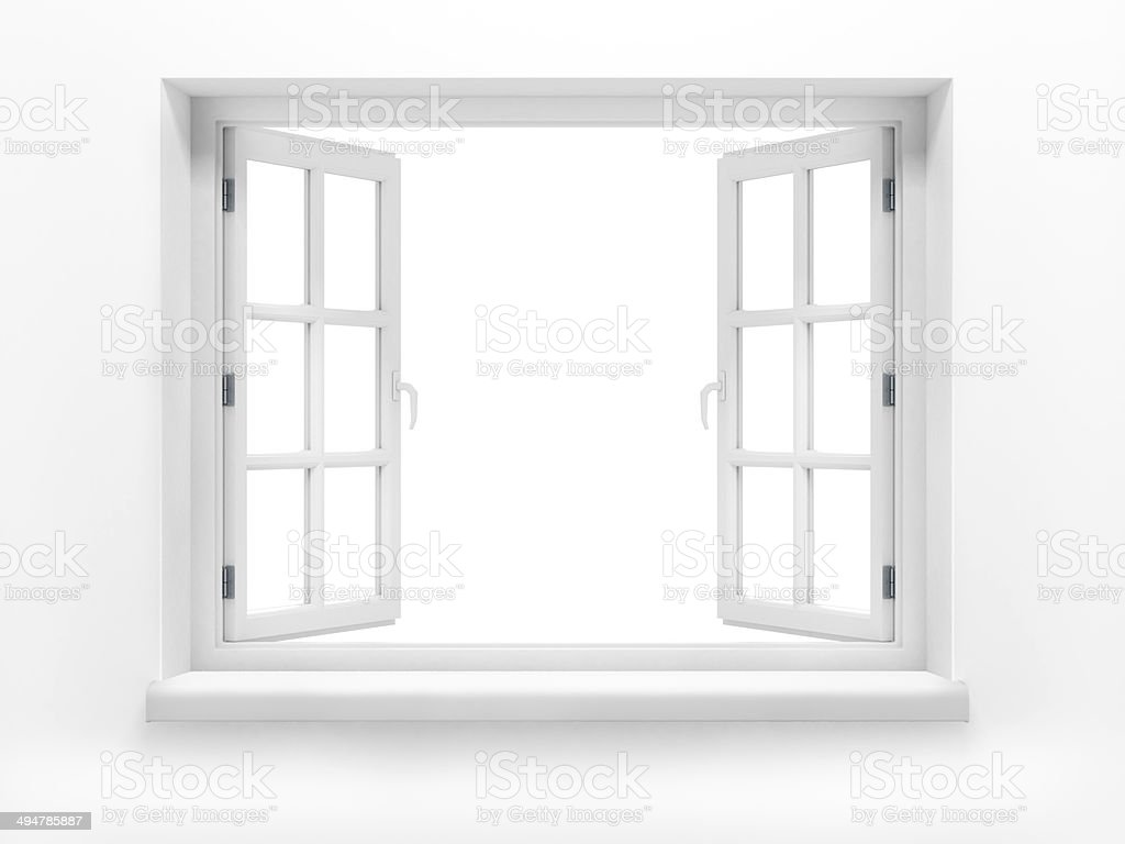 Opened plastic window. 3d render stock photo