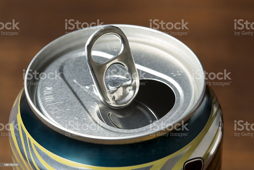 Opened Pop Top Beverage Can Close-Up royalty-free stock photo