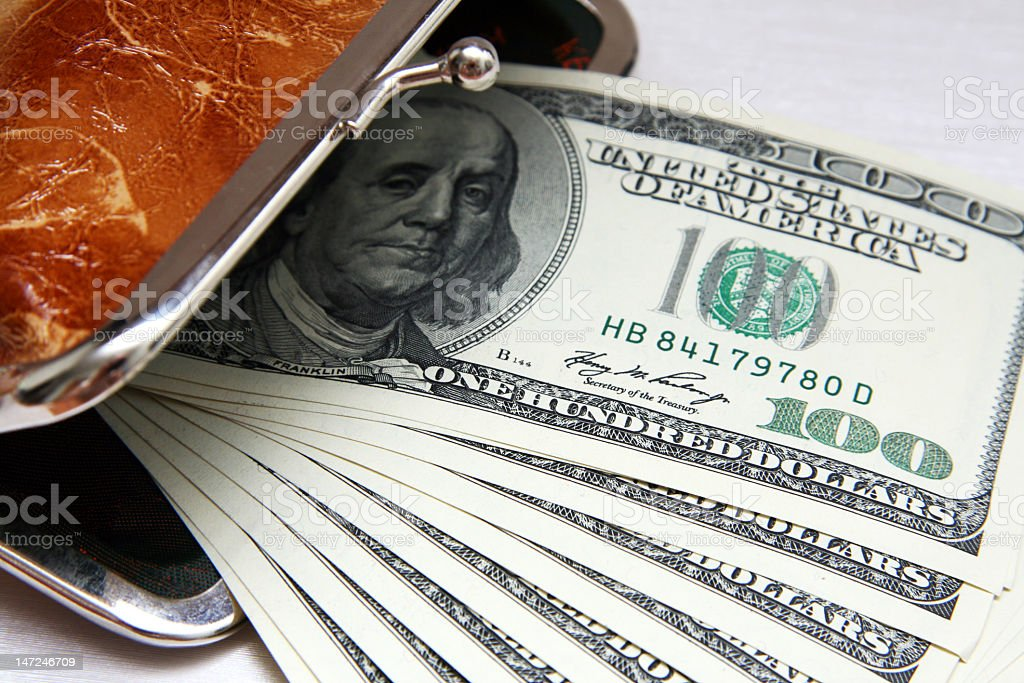 Opened purse stock photo