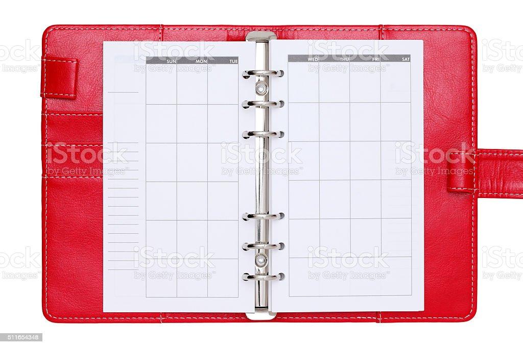 Ouvert rouge carnet en cuir - Photo