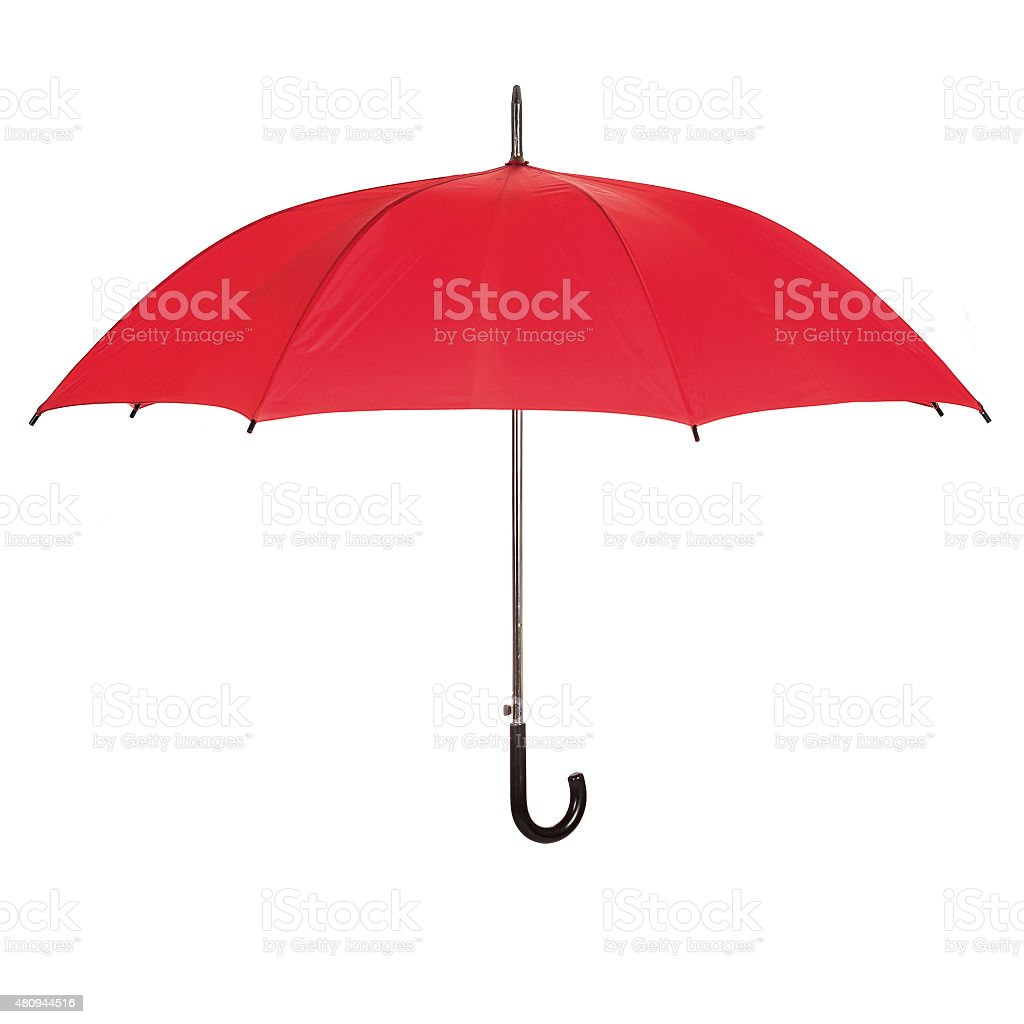 Opened red umbrella over white stock photo
