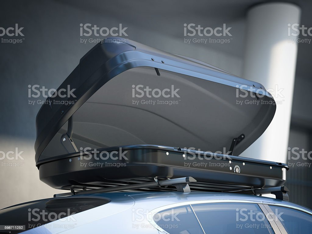 Opened roof rack and modern car. 3d rendering stock photo
