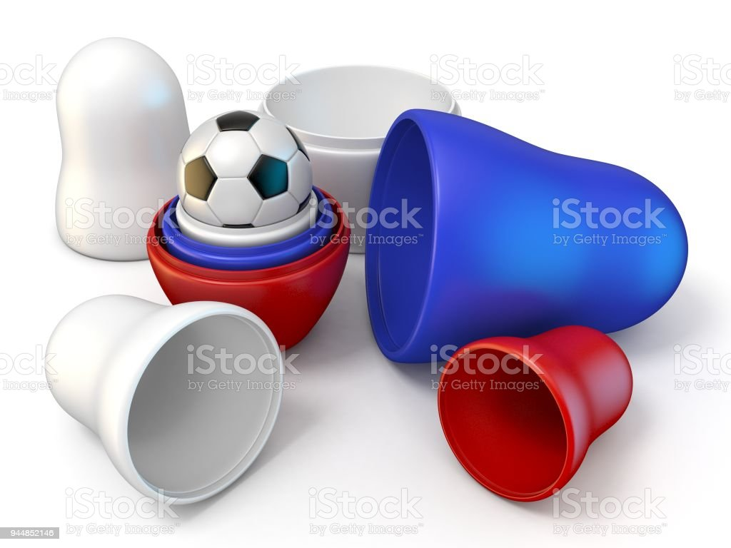 Opened Russian dolls and football 3D stock photo