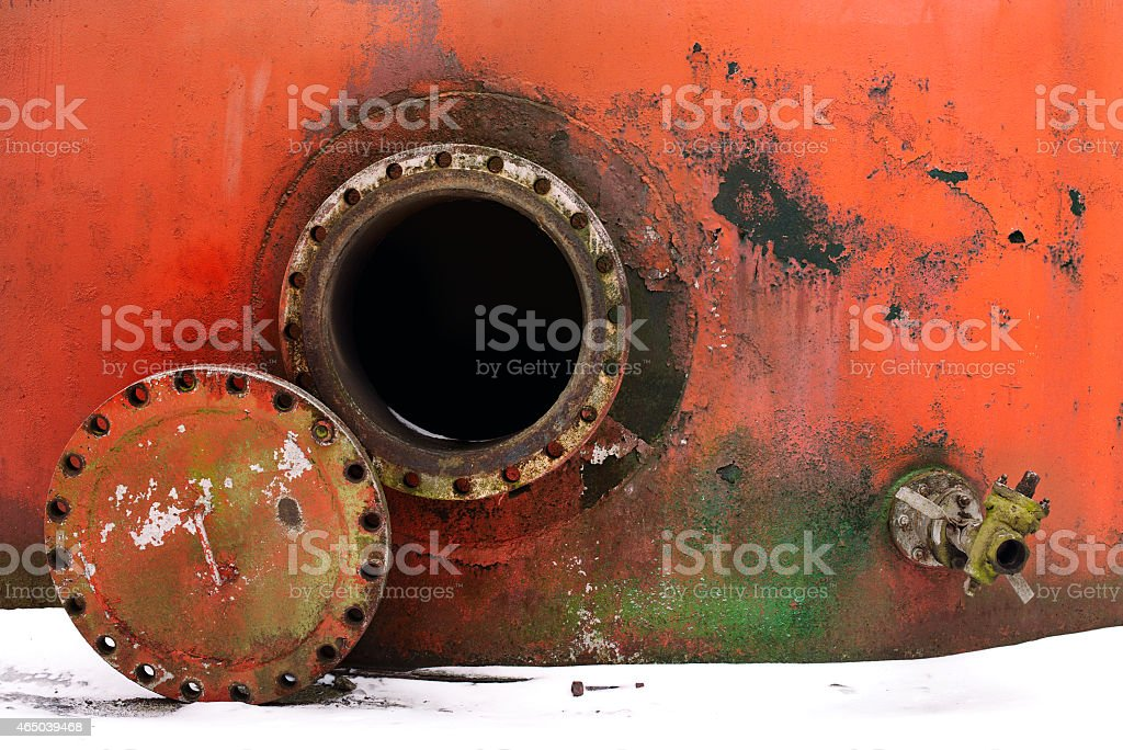 opened rusty manhole stock photo
