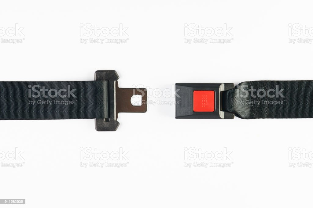 Opened seat belt isolated on white background stock photo