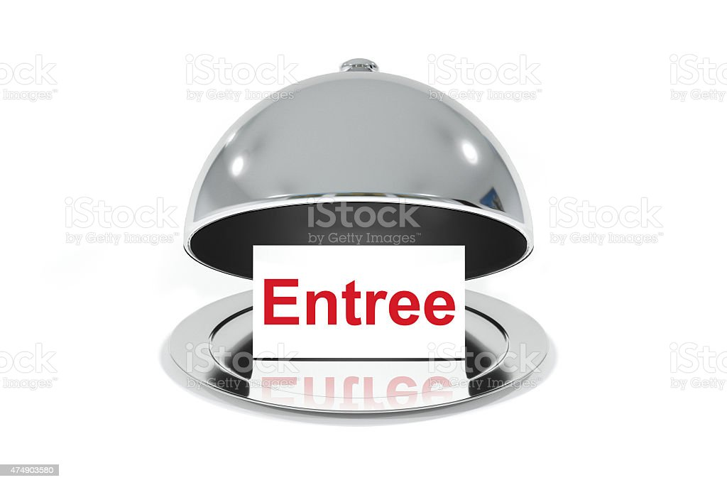 opened silver cloche with white sign entree stock photo